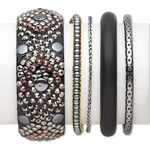 Bracelet Mix, Bangle, Wood (dyed) / Acrylic / Gunmetal- / Copper- / Gold-finished Steel, Black, 2-29.5mm Wide Mixed Design, 2-1/2 Inch Inside Diameter. Sold Per 5-piece Set