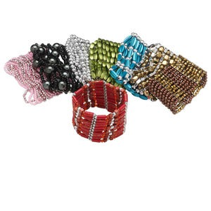 Bracelet Mix, Stretch, Acrylic Glass, Mixed Colors, Mixed Size Shape, 6-1/2 Inches. Sold Per Pkg 8