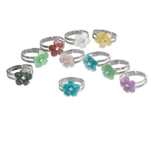 Ring Mix, Acrylic Nickel-finished Steel, Multicolored, 12mm Flower, Adjustable. Sold Per Pkg 10