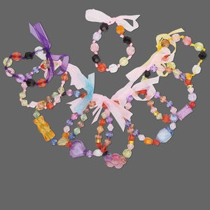 Bracelet Mix, Acrylic Organza Ribbon, Multiple Colors Shapes. Sold Per Pkg 9