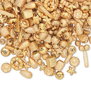 Bead Mix, Acrylic, Gold, 6x6mm-14x5mm Mixed Stardust Shape. Sold Per 100-gram Pkg, Approximately 300-400 Beads