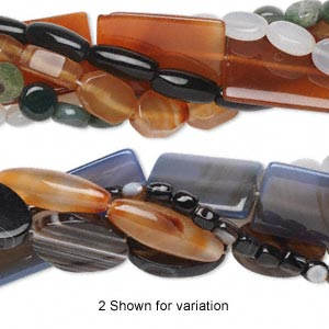 Bead Mix, Agate (natural / Dyed / Heated), Mixed Colors, 7x5mm-40x29mm Mixed Shape, C Grade, Mohs Hardness 6-1/2 7. Sold Per Pkg (5) 15-inch Strands
