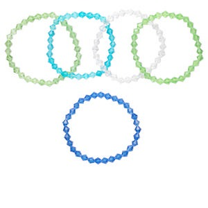 Bracelet Mix, Stretch, Glass, Multicolored, 7x6mm-7x7mm Faceted Bicone, 7 Inches. Sold Per Pkg 5
