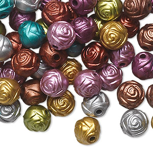 Bead Mix, Acrylic, Mixed Colors, 8mm Round Rose. Sold Per Pkg 100