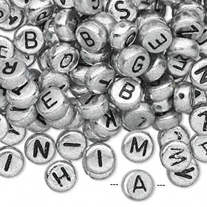 Bead Mix, Acrylic, Opaque Silver Black, 7mm Double-sided Flat Round Alphabet Letters. Sold Per Pkg 200