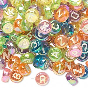 Bead Mix, Acrylic, Translucent Mixed Rainbow Colors AB, 7mm Double-sided Flat Round Alphabet Letters. Sold Per Pkg 200