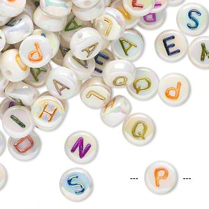 Bead Mix, Acrylic, White AB Multicolored Alphabet, 7x4mm Double-sided Flat Round 1mm Drill Hole. Sold Per Pkg 200