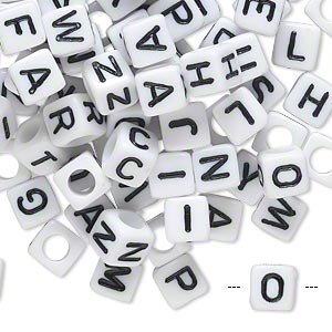 Bead Mix, Acrylic, Opaque White Black, 6x6mm Cube Alphabet Letters 3.5mm Hole. Sold Per Pkg 100