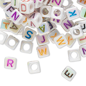 Bead Mix, Acrylic, Opaque White AB Multicolored, 6x6mm Cube Alphabet Letters 3.5mm Hole. Sold Per Pkg 100