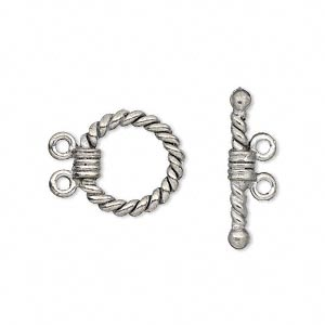 Clasp, 2-strand Toggle, Antiqued Pewter (tin-based Alloy), 14mm Twisted Round. Sold Per Pkg 2