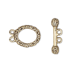 Clasp, 2-strand Toggle, Antique Gold-plated Pewter (tin-based Alloy), 18x13mm Floral Oval. Sold Per Pkg 2