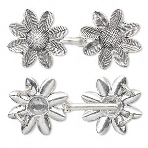 Clasp, 2-strand Hook, Antiqued Sterling Silver, 65x28mm 31x28mm Flower. Sold Individually