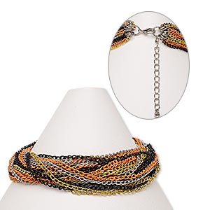 Bracelet, 28-strand, Steel / Gold- / Silver- / Imitation Rhodium-finished Steel / Silver-finished Brass, Orange Black, 7 Inches 2-inch Extender Chain Lobster Claw Clasp. Sold Individually