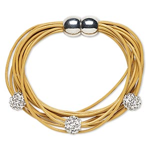 Bracelet, 10-strand, Leather (dyed) / Glass Rhinestone / Silver-plated pewter (zinc-based Alloy), Tan Clear, 10mm Round, 6 Inches Magnetic Clasp. Sold Individually