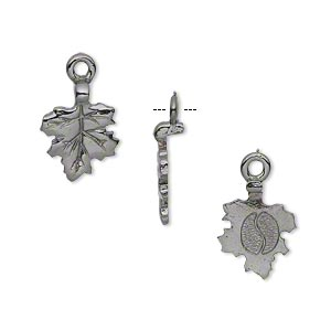 Bail, Glue-on Earring Style, Gunmetal-plated Pewter (tin-based Alloy), 17x11mm 11x10mm Leaf Flat Base. Sold Per Pkg 4