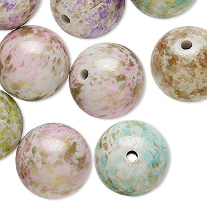 Bead Mix, Acrylic, Mixed Colors, 20mm Round Speckles 2.5-3mm Hole. Sold Per Pkg 25
