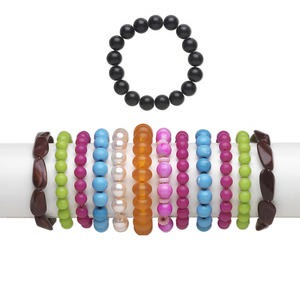 Bracelet Mix, Stretch, Acrylic / Glass / Resin, Mixed Colors, 3-30mm Wide Mixed Shape, 6 Inches. Sold Per Pkg 12