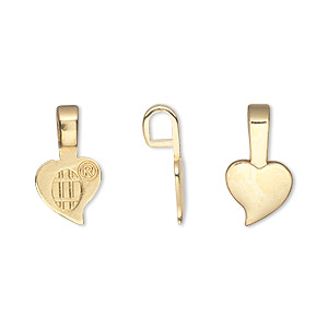 Bail, Aanraku®, Glue-on Pendant, Gold-plated pewter (zinc-based Alloy), 16x9mm 9x7mm Heart Flat Base. Sold Per Pkg 5