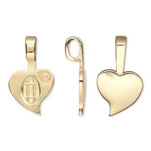 Bail, Aanraku®, Glue-on, 18Kt Gold-plated pewter (zinc-based Alloy), 23x13.5mm 13.5x10mm Heart Flat Base. Sold Per Pkg 5