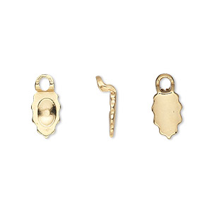 Bail, Aanraku®, Glue-on Earring, 18Kt Gold-plated pewter (zinc-based Alloy), 13x6.5mm 9x6.5mm Leaf Flat Base. Sold Per Pkg 2 Pairs