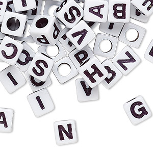 Bead Mix, Acrylic, Opaque White Black, 6.5x6mm Vertically Drilled Cube Alphabet Letters 3.5mm Hole. Sold Per Pkg 100