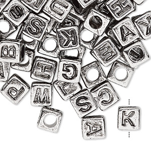 Bead Mix, Acrylic, Silver Opaque Black, 6.5x6mm Vertically Drilled Cube Alphabet Letters 3.5mm Hole. Sold Per Pkg 100