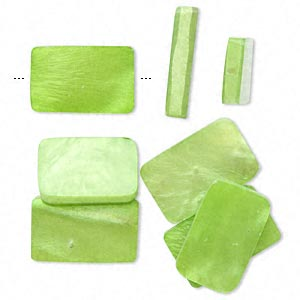 Bead Mix, Acrylic Mother-of-pearl Shell (assembled), Green, 19x13mm-22x14mm Rectangle. Sold Per Pkg 8