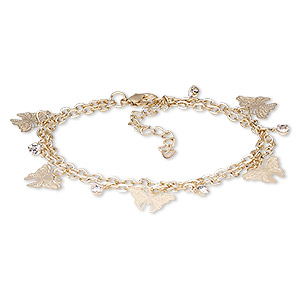 Bracelet, 2-strand, Egyptian Glass Rhinestone Gold-finished Steel, Clear, 15mm Wide 20x10mm Butterfly, 7-1/2 Inches 2-inch Extender Chain Lobster Claw Clasp. Sold Individually