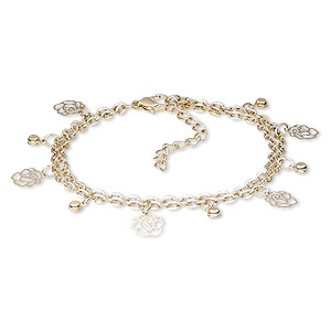 Bracelet, 2-strand, Egyptian Glass Rhinestone Gold-finished Steel, Clear, 15mm Wide 10x9mm Rose, 7 Inches 2-inch Extender Chain Lobster Claw Clasp. Sold Individually