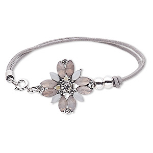 Bracelet, 2-strand Stretch, Acrylic / Glass Rhinestone / Nylon / Silver-plated Steel / pewter (zinc-based Alloy), Grey / White / Clear, 25x25mm Flower, 6-1/2 Inches Springring Clasp. Sold Individually