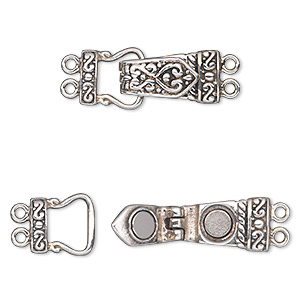 Clasp, 2-strand Magnetic Fold-over, Antiqued Sterling Silver, 26x11mm Single-sided Fancy Rectangle. Sold Individually