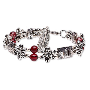 Bracelet, 2-strand, Glass Antique Silver-plated Steel pewter (zinc-based Alloy), Red, 13mm Wide Flower 24x8mm Feather Dangle, 6-1/2 Inches 1-1/4 Inch Extender Chain Lobster Claw Clasp. Sold Individually