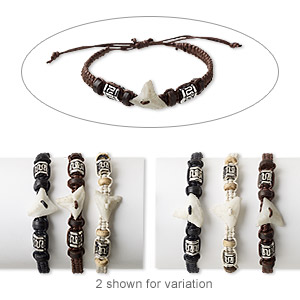 Bracelet Mix, Wood (natural / Dyed) / Resin / Cotton / Silver-coated Plastic, Multicolored, 4-6mm Wide, Adjustable 6-9 Inches Wrapped Knot Closure. Sold Per Pkg 3
