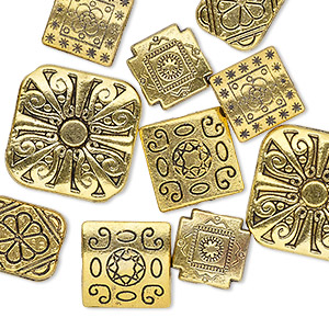 Bead Mix, Antique Gold-finished pewter (zinc-based Alloy), 10-16mm Double-sided Square 12x10mm Double-sided Rectangle. Sold Per Pkg 10