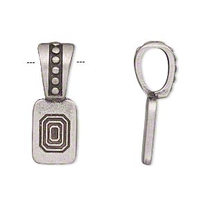 Bail, Glue-on, Antique Silver-plated pewter (zinc-based Alloy), 27x9.5mm Beaded Design 15x9.5mm Flat Base. Sold Individually
