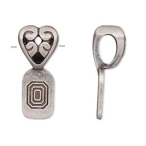 Bail, Glue-on, Antique Silver-plated pewter (zinc-based Alloy), 28x12mm Open Filigree Heart 16x10mm Flat Base. Sold Individually