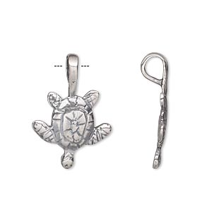 Bail, Glue-on, Antique Silver-plated Brass, 24.5x16.5mm 16.5x11.5mm Turtle Flat Base. Sold Individually