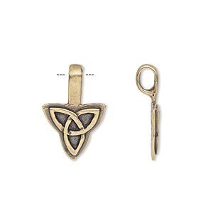Bail, Glue-on, Antiqued Brass, 20x13mm 13x12mm Triangle Flat Base Celtic Knot Design. Sold Individually