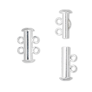 Clasp, 2-strand Slide Lock, Silver-plated Brass, 16x6mm Tube. Sold Per Pkg 10