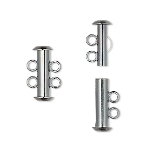 Clasp, 2-strand Slide Lock, Gunmetal-plated Brass, 16x6mm Tube. Sold Per Pkg 100