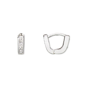 Bail, Czech Glass Rhinestone Silver-plated Brass, Clear, 10x3mm Single-sided Hinged Oval, 7mm Grip Length. Sold Per Pkg 2