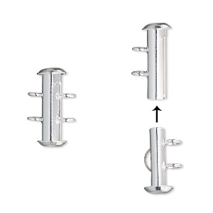 Clasp, 2-strand Slide Lock, Silver-plated Brass, 16x6mm Round Tube. Sold Per Pkg 4