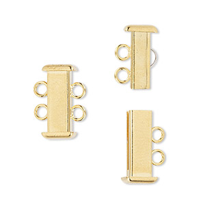 Clasp, 2-strand Slide Lock, Gold-plated Brass, 16x7mm Rectangle Tube. Sold Per Pkg 4