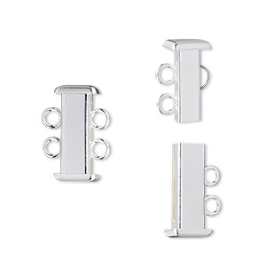 Clasp, 2-strand Slide Lock, Silver-plated Brass, 16x7mm Rectangle Tube. Sold Per Pkg 4