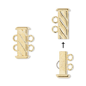 Clasp, 2-strand Slide Lock, Gold-plated Brass, 16x7mm Corrugated Rectangle Tube. Sold Per Pkg 4
