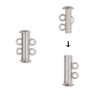 Clasp, 2-strand Slide Lock, Stainless Steel, 16.5x6mm Tube. Sold Per Pkg 4