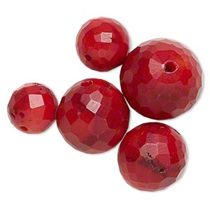 Bead Mix, Bamboo Coral (dyed), Dark Red, 11-18mm Faceted Round, B- Grade, Mohs Hardness 3-1/2 4. Sold Per Pkg 5