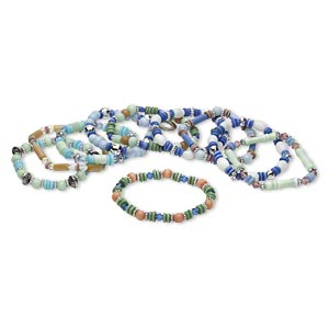 Bracelet Mix, Stretch, Cat's Eye Glass / Glass / Plastic / Silver-coated Plastic / Silver-finished Steel, Multicolored, 6x2mm-26x7mm Mixed Shape, 7 Inches. Sold Per Pkg 10