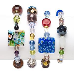 Bracelet Mix, Stretch, Glass, Mixed Colors, 4mm-18mm Multi-shape, 6-1/2 Inches. Sold Per Pkg 4