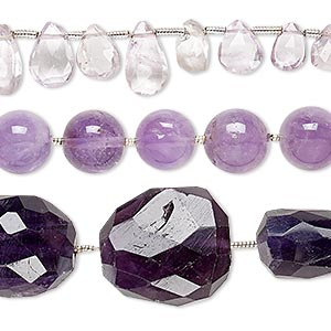 Bead Mix, Amethyst (natural / Dyed), 4x2mm-42x25mm Hand-cut Mixed Shape, Mohs Hardness 7. Sold Per Pkg (3) 6-inch Strands